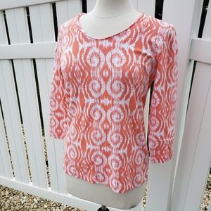 🆕Ruby Rd. Coral Salmon Swirly Scoop Neck Blouse
